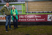 Forest Green Rovers Chairman Dale Vince and Jilly Cooper during the EFL Sky Bet League 2 match between Forest Green Rovers and Swindon Town at the New Lawn, Forest Green, United Kingdom on 22 September 2017. Photo by Shane Healey.