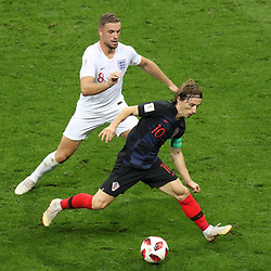 July 11, 2018 - Moscow, Russia - July 11, 2018, Moscow, FIFA World Cup 2018 Football, the playoff round. 1/2 finals of the World Cup. Football match Croatia - England at the stadium Luzhniki. Player of the national team Luka Modric; Jordan Henderson. (Credit Image: © Russian Look via ZUMA Wire)