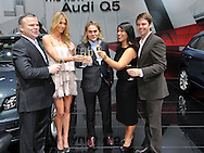 (L-R) Audi's managing director - Joerg Hofmann, Jennifer Hawkins, Shannon Bennett, Kate Ceberano and Todd Woodbridge.Media Preview .Melbourne International Motorshow.Melbourne Exhibition Centre.Clarendon St, Southbank, Melbourne .Friday 27th of February 2009.(C) Joel Strickland Photographics.