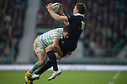 Twickenham, United Kingdom. Oxford's Tom STILEMANN, driven back by Cambridge's, Simon DAVIIES, during the  Men's Varsity Rugby, [Oxford vs Cambridge],Twickenham. UK, at the RFU Stadium, Twickenham, England, <br /> <br /> Thursday  08/12/2016<br /> <br /> [Mandatory Credit; Peter Spurrier/Intersport-images]