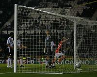 Photo: Steve Bond.<br />Derby County v Blackpool. Carling Cup. 28/08/2007. Kaspars Gorkss (R) turns to celebrate
