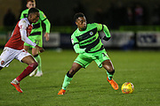Forest Green Rovers Tahvon Campbell(14) on the ball during the EFL Trophy group stage match between Forest Green Rovers and U21 Arsenal at the New Lawn, Forest Green, United Kingdom on 7 November 2018.