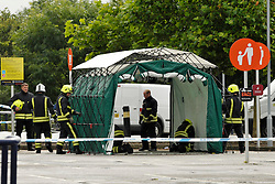 © Licensed to London News Pictures. 07/08/2012. Chippenham, Wiltshire, UK. Police and the Fire Service are investigating after a burnt body was found at Sainsburys carpark in Chippenham.  The carpark has been sealed off, and the store has been closed. 07 August 2012..Photo credit : Simon Chapman/LNP