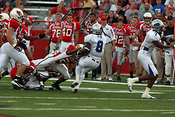 20 September 2008:  Kelvyn Hemphill tries to dislodge the ball from the hands of Travorus Bess during Illinois State Redbirds home opener lose to the #20 ranked Eastern Illinois Panthers at Hancock Stadium on the campus of Illinois State University in Normal Illinois. Final score was 25-21.