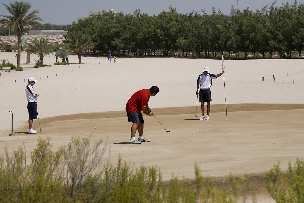 Abu Dhabi, United Arab Emirates (UAE). .March 20th 2009..Al Ghazal Golf Club..36th Abu Dhabi Men's Open Championship..From left to right : Craig Martin, Alex Charawani, and Andrew Marshall