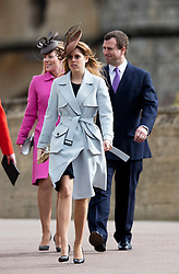 WINDSOR - UK - 27th Mar 2016: HM Queen Elizabeth, accompanied by HRH The Duke , The Duke and members of the royal family attends the annual Easter Sunday service at St George's Chapel in the grounds of Windsor Castle.<br /> <br />  Peter Phillips, Princess Beatrice.<br /> Photograph by Ian Jones.