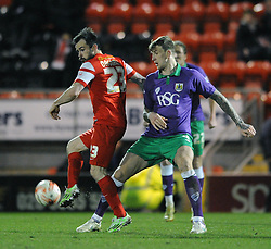 Bristol City's Aden Flint challenges for the ball with Leyton Orient's Chris Dagnall - Photo mandatory by-line: Dougie Allward/JMP - Mobile: 07966 386802 - 03/03/2015 - SPORT - football - Leyton - Brisbane Road - Leyton Orient v Bristol City - Sky Bet League One