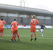 Scott Mollison curls in a free kick which hit the bar - Forfar Athletic v Dundee, SPFL Under 19s League Cup at Station Park<br /> <br /> <br />  - &copy; David Young - www.davidyoungphoto.co.uk - email: davidyoungphoto@gmail.com