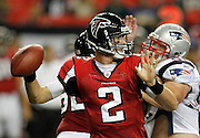 ATLANTA - AUGUST 19:  Quarterback Matt Ryan #2 of the Atlanta Falcons throws a pass during the preseason game against the New England Patriots at the Georgia Dome on August 19, 2010 in Atlanta, Georgia.  (Photo by Mike Zarrilli/Getty Images)