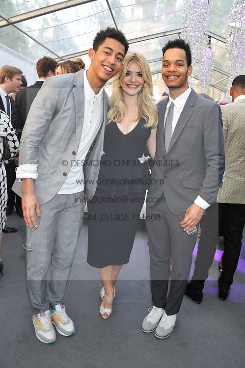 JORDAN STEPHENS, HARLEY ALEXANDER-SULE of Rizzle Kicks and HOLLY WILLOUGHBY at the Glamour Women of the Year Awards 2012 in association with Pandora held in Berkeley Square Gardens, London W1 on 29th May 2012.