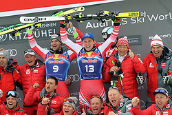 25.01.2020, Streif, Kitzbühel, AUT, FIS Weltcup Ski Alpin, Abfahrt, Herren, Sieger Präsentation, im Bild v.l. Vincent Kriechmayr (AUT, 2. Platz), Matthias Mayer (AUT, 1. Platz) mit Team // f.l. second placed Vincent Kriechmayr of Austria, race winner Matthias Mayer of Austria and team during the winner presentation for the men's downhill of FIS Ski Alpine World Cup at the Streif in Kitzbühel, Austria on 2020/01/25. EXPA Pictures © 2020, PhotoCredit: EXPA/ SM<br /> <br /> *****ATTENTION - OUT of GER*****