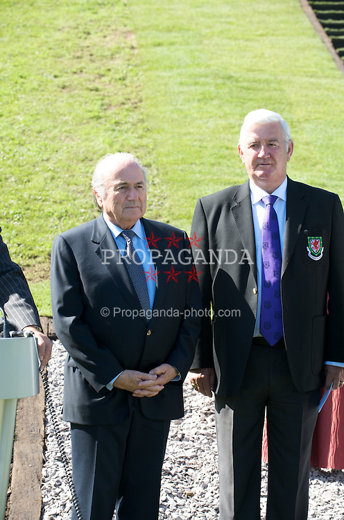CARDIFF, WALES - Wednesday, September 9, 2009: FIFA President Joseph Sepp Blatter and President Phil Pritchard at the opening of the Wales national team training pitch ahead of the FIFA World Cup Qualifying Group 3 match against Russia. (Pic by David Rawcliffe/Propaganda)