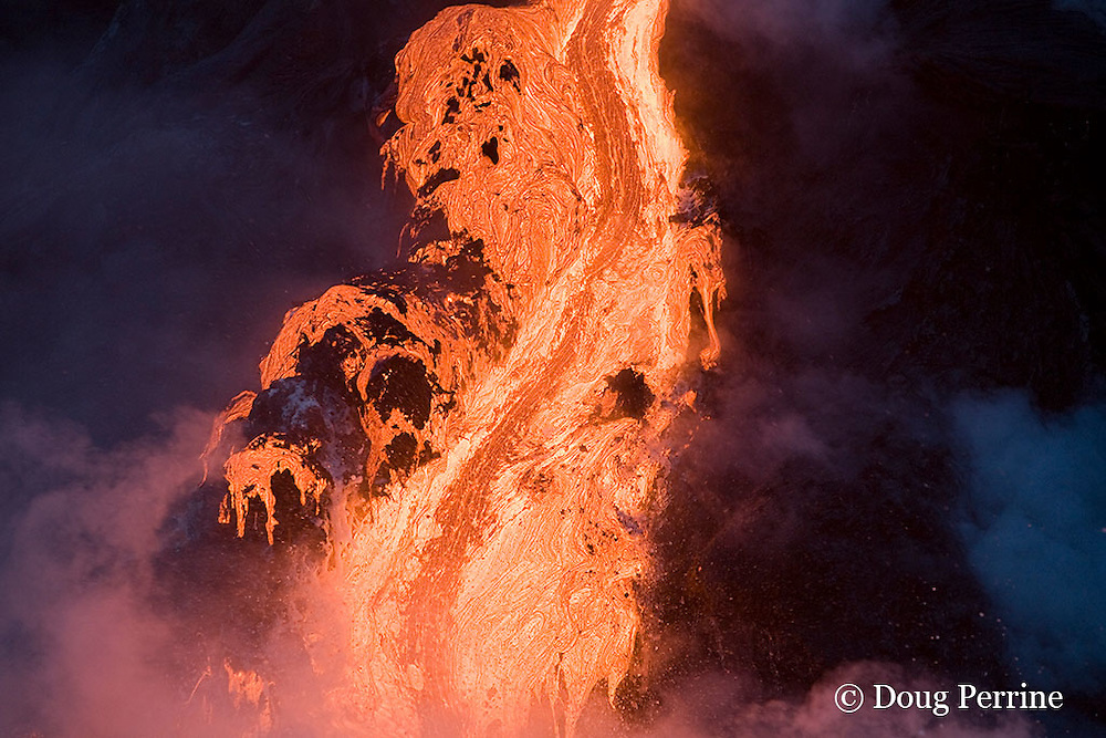 hot lava from ongoing eruption of Kilauea Volcano pours into the the Pacific Ocean at Hawaii Volcanoes National Park, Hawaii Island ( the Big Island ), Hawaiian Islands, U.S.A.