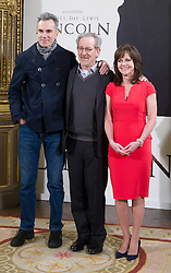 (UK RIGHTS ONLY) Actor Daniel Day-Lewis, director Steven Spielberg and actress Sally Field attend the 'Lincoln' photocall at 'Casa de America' in Madrid, Spain. 16/01/2013<br />BYLINE MUST READ : DND/EAGLEPRESS/GOTCHA IMAGES<br /><br />Copyright by © Gotcha Images Ltd. All rights reserved.<br />Usage of this image is conditional upon the acceptance <br />of Gotcha Images Ltd, terms and conditions available at<br />www.gotchaimages.com