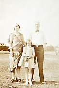 vintage family posing during a road trip