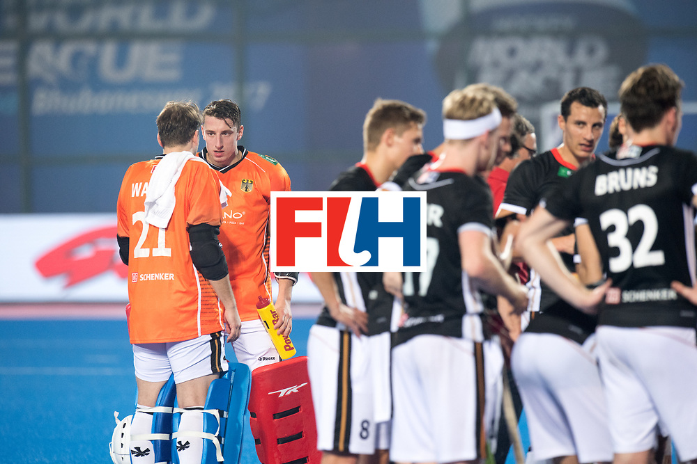 Odisha Men's Hockey World League Final Bhubaneswar 2017<br /> Match id:05<br /> 05 GER v AUS (Pool B)<br /> Foto: keeper Mark Appel (Ger) and keeper Tobias Walter (Ger) coaching each other.<br /> WORLDSPORTPICS COPYRIGHT FRANK UIJLENBROEK