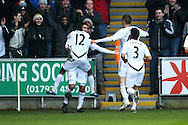 Picture by Paul Chesterton/Focus Images Ltd.  07904 640267.11/02/12.Danny Graham of Swansea scores his sides 1st goal and celebrates during the Barclays Premier League match at Liberty Stadium, Swansea.