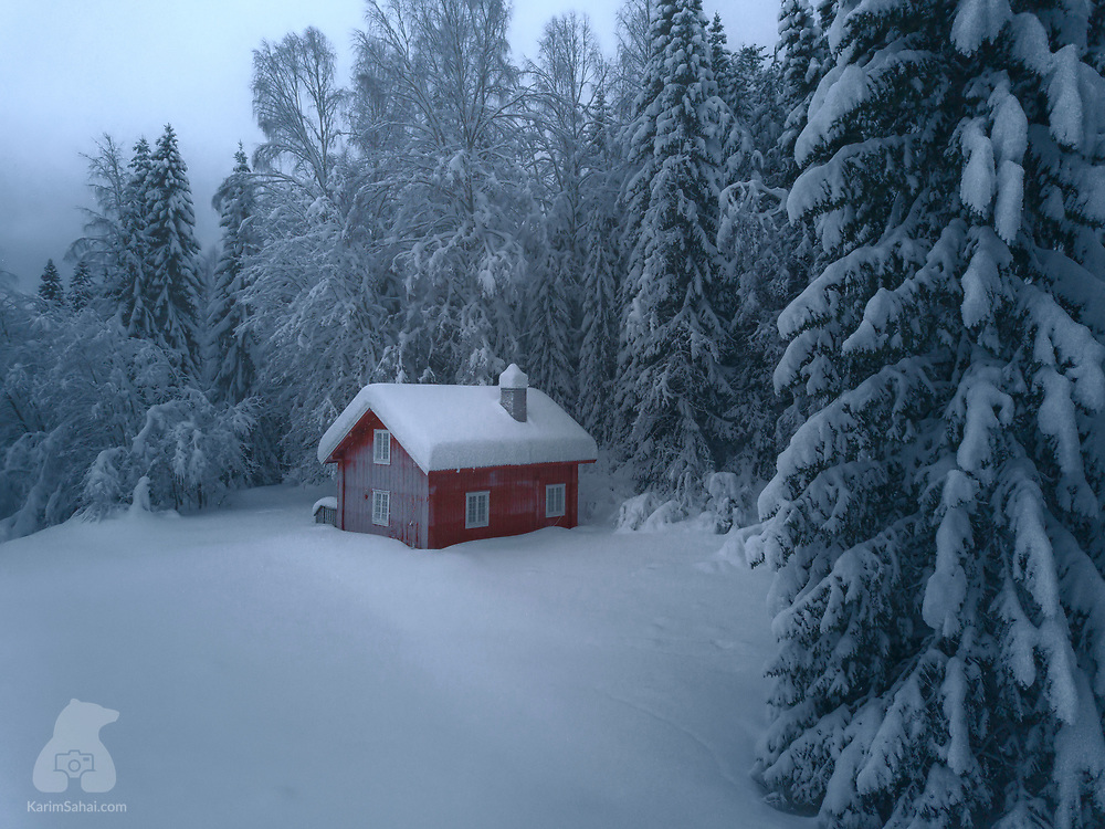 Old norwegian house in the middle of winter, Hedmark, Norway
