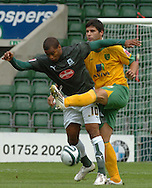 Plymouth -Saturday September 13th 2008:Jermaine Easterof Plymouth Argyle and Dejan Stefanovic of Norwich City during the Coca Cola Championship match at Plymouth.(Pic by Tony Carney/Focus Images)