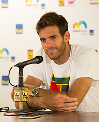 March 30, 2018 - Miami, Florida, United States - Juan Martin Del Potro, from Argentina, talking to the media after his semi final match at the Miami Open in Key Biscayne in Miami, on March 30, 2018. (Credit Image: © Manuel Mazzanti/NurPhoto via ZUMA Press)