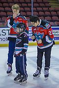 KELOWNA, CANADA - FEBRUARY 19:  Ted Brennan #10 of the Kelowna Rockets, Colum McGauley #23 of the Kelowna Rockets at the CIBC Family Skate with the Kelowna Rockets on February 19, 2018 at Prospera Place in Kelowna, British Columbia, Canada.  (Photo By Cindy Rogers/Nyasa Photography,  *** Local Caption ***