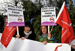 "© Licensed to London News Pictures. 19/02/2014; Bristol, UK.  Protest at Bristol Assessment Centre, Government Buildings, Flowers Hill, Brislington, Bristol, against ATOS Healthcare who carry out millions of ""fit-for-work"" tests for sick and disabled benefit claimants on behalf of the UK Government.  It is reported that the Government will terminate the contract with ATOS.<br /> Photo credit: Simon Chapman/LNP"