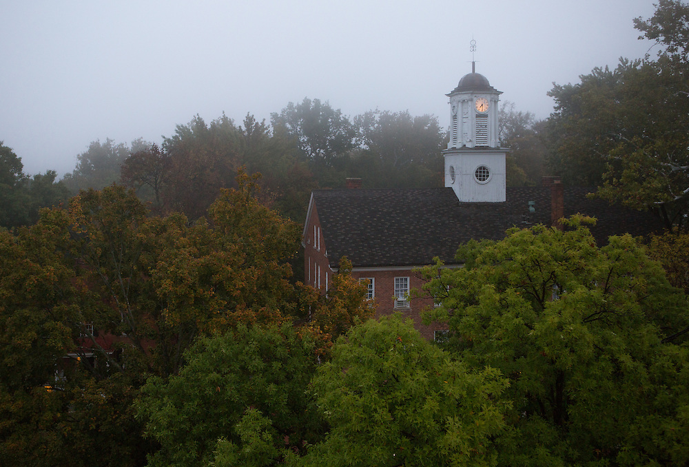 Fall campus beauty photos, shot from the roof of Alden Library. Photo by Lauren Pond