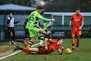 Forest Green Rovers Charlie Cooper(15) tackles Wycombe Wanderers Luke O'Nien(17) and is shown a red card during the EFL Sky Bet League 2 match between Forest Green Rovers and Wycombe Wanderers at the New Lawn, Forest Green, United Kingdom on 1 January 2018. Photo by Shane Healey.
