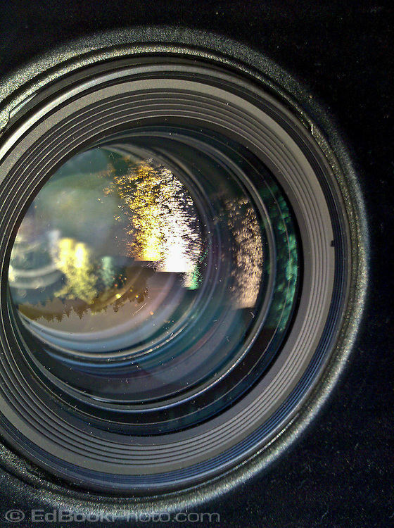 front surface of a lens with reflections