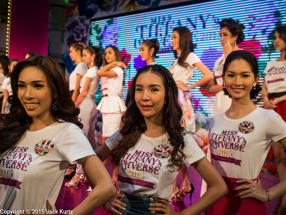 25 MARCH 2015 - BANGKOK, THAILAND: Contestants in the first round of the Miss Tiffany's contest at CentralWorld, a large shopping mall in Bangkok. Miss Tiffany's Universe is a beauty contest for transgender contestants; all of the contestants were born biologically male. The final round will be held on May 8 in the beach resort of Pattaya. The final round is televised of the  Miss Tiffany's Universe contest is broadcast live on Thai television with an average of 15 million viewers.     PHOTO BY JACK KURTZ