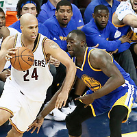 10 June 2016: Cleveland Cavaliers forward Richard Jefferson (24) drives past Golden State Warriors forward Draymond Green (23) during the Golden State Warriors 108-97 victory over the Cleveland Cavaliers, during Game Four of the 2016 NBA Finals at the Quicken Loans Arena, Cleveland, Ohio, USA.