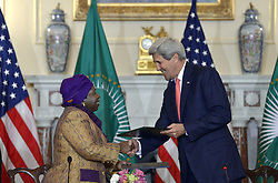WASHINGTON D.C., April 13, 2015  U.S. Secretary of State John Kerry (R) and African Union Commission Chairperson Nkosazana Dlamini Zuma shake hands after signing a memorandum of understanding at the U.S. Department of State in Washington, D.C., on April 13, 2015. (Credit Image: © Yin Bogu/Xinhua/ZUMA Wire)