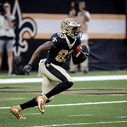 Aug 29, 2019; New Orleans, LA, USA; New Orleans Saints wide receiver Cyril Grayson (83) returns a kickoff against the Miami Dolphins during the second half of a preseason game at the Mercedes-Benz Superdome. Mandatory Credit: Derick E. Hingle-USA TODAY Sports