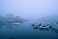 Foggy morning in a fishing village, Peggy's Cove, Nova Scotia, Canada