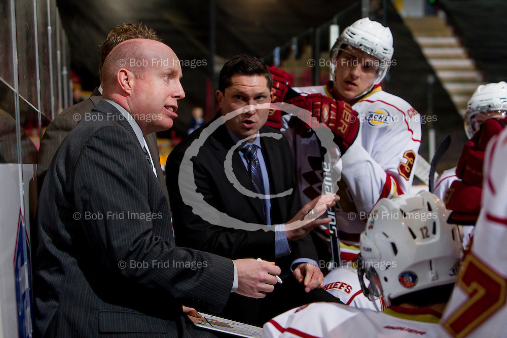 22 November 2014:  Chiefs Head Coach / General Manager Jason Tatarnic, Chiefs Associate Coach Kyle Adams, Chiefs Assistant Coach Paul Nicolls  during a game between the Chilliwack Chiefs and the Coquitlam Express at Prospera Centre, Chilliwack, BC.    ****(Photo by Bob Frid - All Rights Reserved 2014): mobile: 778-834-2455 : email: bob.frid@shaw.ca ****
