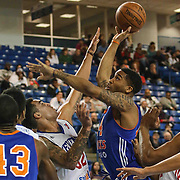 Westchester Knicks Forward Chris Johnson (4) drives towards the basket as Delaware 87ers Forward Drew Gordon (32) defends in the first half of a NBA D-league regular season basketball game between the Delaware 87ers and the Westchester Knicks (New York Knicks) Sunday, Dec. 28, 2014 at The Bob Carpenter Sports Convocation Center in Newark, DEL