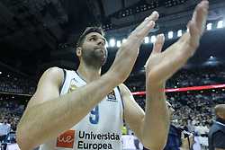 April 27, 2018 - Madrid, Spain - FELIPE REYES  of Real Madrid celebrates the victory during the Turkish Airlines Euroleague Play Offs Game 4 between Real Madrid v Panathinaikos Superfoods Athens at Wizink Center on April 27, 2018 in Madrid, Spain Photo: Oscar Gonzalez/NurPhoto  (Credit Image: © Oscar Gonzalez/NurPhoto via ZUMA Press)