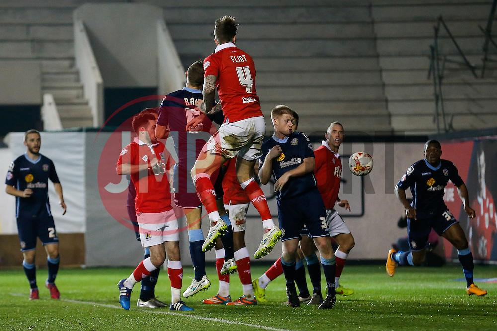 Aden Flint of Bristol City scores a goal with a header to make it 2-0 - Photo mandatory by-line: Rogan Thomson/JMP - 07966 386802 - 17/03/2015 - SPORT - FOOTBALL - Bristol, England - Ashton Gate Stadium - Bristol City v Crewe Alexandra - Sky Bet League 1.