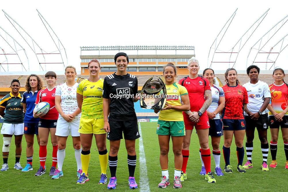 Team captain's gather in Arena Barueri, Sao Paulo, ahead of the second round of the Women's Sevens Series in Brazil.