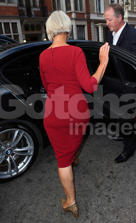 Actress Helen Mirren leaving Claridges hotel in London, UK. 02/09/2014<br /> <br /> BYLINE MUST READ : JAMESY/PALACE LEE/GOTCHA IMAGES<br /> <br /> Copyright by &copy; Gotcha Images Ltd. All rights reserved.<br /> Usage of this image is conditional upon the acceptance <br /> of Gotcha Images Ltd, terms and conditions available at<br /> www.gotchaimages.com
