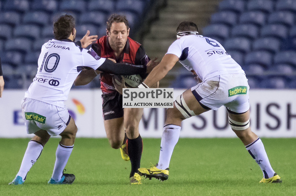 Edinburgh #12 Andries Strauss tries to break the Agen defence.  Edinburgh Rugby v Agen, European Challenge Cup, 15th January 2016
