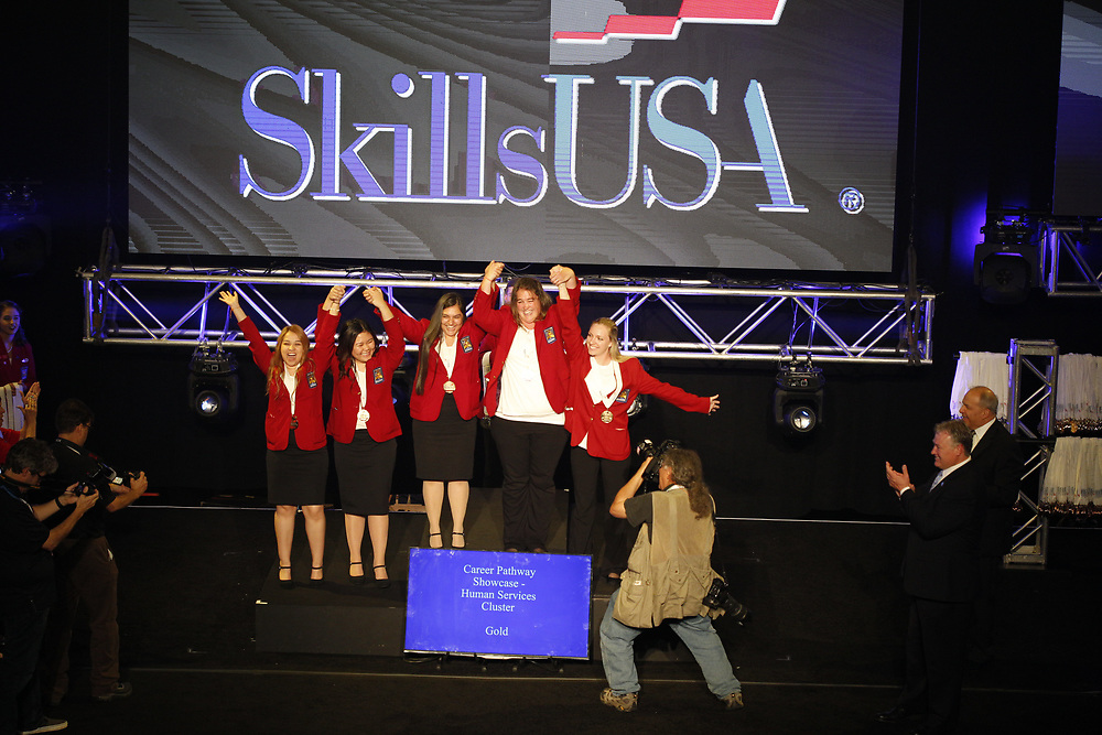 The 2017 SkillsUSA National Leadership and Skills Conference Competition Medalists were announced Friday, June 23, 2017 at Freedom Hall in Louisville. <br /> <br /> Career Pathways - Human Services<br /> <br /> 	Team ME (consisting of Omar J Torres, Anthony Tomeski-Sudziarski, Isaac Medina)<br />   High School	 Bethlehem AVTS<br />   Gold	 Bethlehem, PA<br /> Career Pathways - Human Services	Team WB (consisting of Yamel Herrera, Jasmine Silva, Ruben Garzoria)<br />   High School	 Veterans Memorial High School<br />   Silver	 Brownsville, TX<br /> Career Pathways - Human Services	Team WE (consisting of Madison Lewis, Mason Putnam, Destiny Mayorga)<br />   High School	 Tulsa Technology Center-Peoria<br />   Bronze	 Tulsa, OK<br /> Career Pathways - Human Services	Team MB (consisting of Christopher Onder, Carley Hahn, Alesha Shields)<br />   College	 YTI Career Institute, Altoona<br />   Gold	 Altoona, PA<br /> Career Pathways - Human Services	Team UA (consisting of TAWANDA BROWN, ELPDTHA GIBSON, MARY SWISHER)<br />   College	 Northwest Florida State College<br />   Silver	 Niceville, FL<br /> Career Pathways - Human Services	Team WA (consisting of Norma Lucero, Brittany Miller, Jayline Jimenez)<br />   College	 Crowder College<br />   Bronze	 Neosho, MO