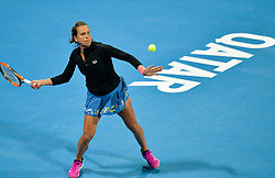 DOHA, Feb. 12, 2019  Barbora Strycova of the Czech Republic returns the ball during the women's singles first round match between Barbora Strycova of the Czech Republic and Fatma Al Nabhani of Oman at the 2019 WTA Qatar Open in Doha, Qatar, Feb. 11, 2019. Barbora Strycova won 2-0. (Credit Image: © Nikku/Xinhua via ZUMA Wire)
