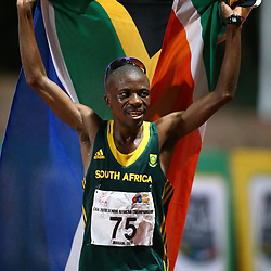 Durban, SOUTH AFRICA, 22,June, 2016 - Stephen Mokoka of South Africa winner of the 10 000M MEN during Day 1 The 20th CAA African Senior Athletics Championships will take place at the Kings Park Athletics Stadium in Durban, South Africa from June 22-26, 2016. (Photo by Steve Haag)