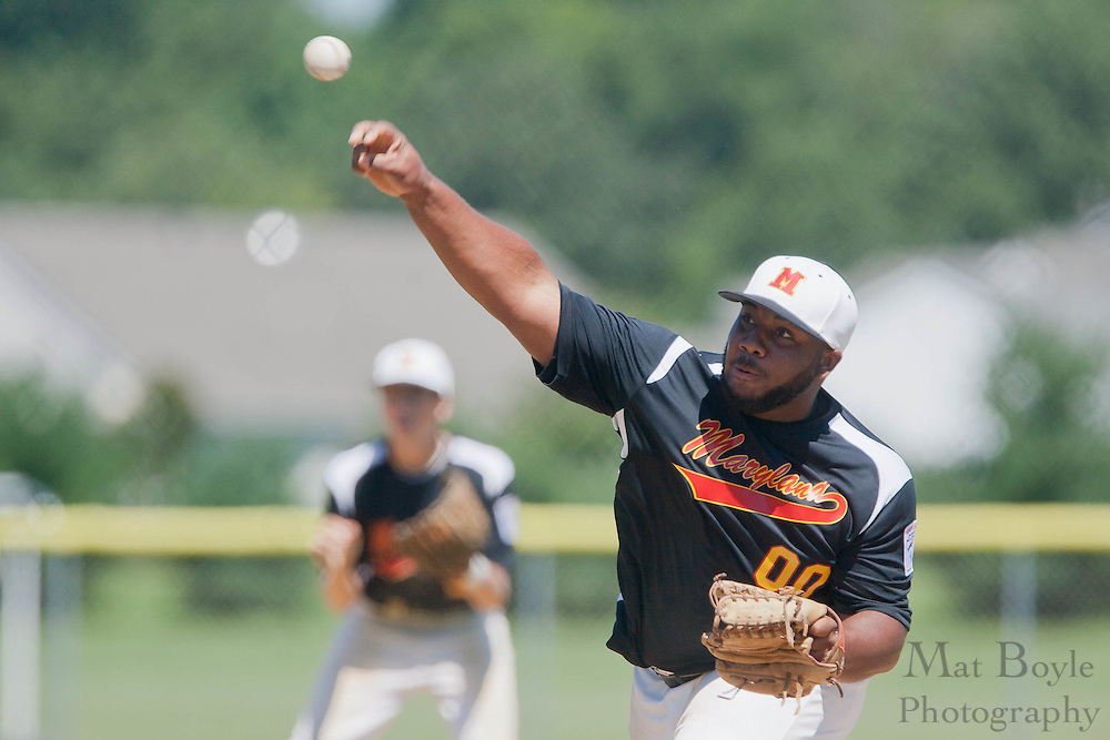 Maryland's Taylor Blake pitches in the 6th inning during the finals of the Eastern Regional Senior League tournament between Pennsylvania and Maryland held in West Deptford on Thursday, August 11.