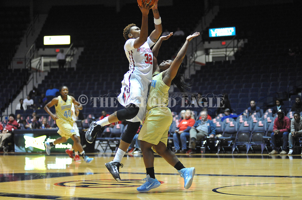 "Ole Miss forward Tia Faleru (32) vs. Southern at the C.M. ""Tad"" Smith Coliseum in Oxford, Miss. on Thursday, November 20, 2014. (AP Photo/Oxford Eagle, Bruce Newman)"