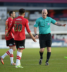 Exeter City's Tom Nichols confronts the referee.  - Photo mandatory by-line: Alex James/JMP - Mobile: 07966 386802 - 10/01/2015 - SPORT - football - Exeter - St James Park - Exeter City v Northampton - Sky Bet League Two