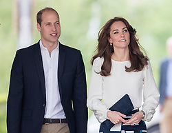 LONDON - UK - 16th May 2016: Britain's Duke and Duchess of Cambridge accompanied by Prince Harry arrive at the Olympic Park in London to attend a reception of the Heads Together Charity at the Orbital Cafe.<br /> <br /> Photograph by Ian Jones