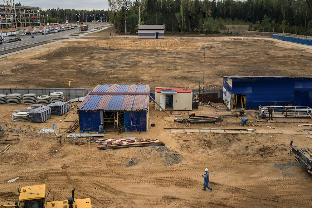 Construction proceeds at the Great Stone Industrial Park, a joint project between Belarus and China, on Monday, September 26, 2016 in Minsk, Belarus.
