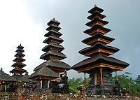 The amazing buildings of the Mother Temple seen from below the steps.  Bali, Indonesia.